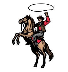 cowboy mascot riding standing horse vector image