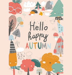 cute frame composed colorful autumn trees vector image