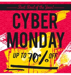 Cyber Monday sale banner on red background vector