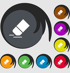 Eraser rubber icon sign Symbols on eight colored vector image