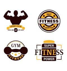 fitness emblem design element gym sport club vector image