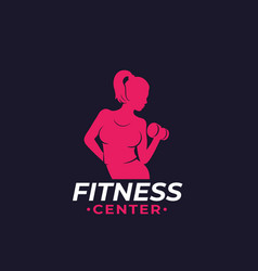 Fitness logo with athletic girl vector