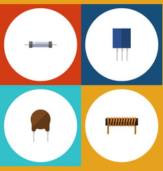 flat icon electronics set of resistor receptacle vector image