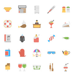 Flat icon set hotels and restaurants vector