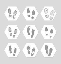 footprints icons - female male vector image