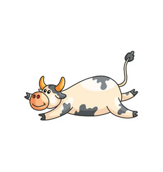 Funny satisfied lazy spotted cow lying on stomach vector