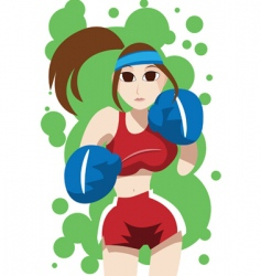 girl in boxing suit vector image