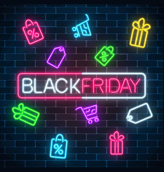 glowing neon sign of black friday sale in vector image