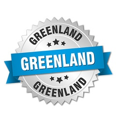 Greenland round silver badge with blue ribbon vector image