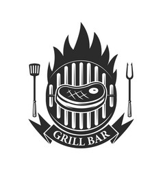 Grill bar cutted meat and crossed meat cleavers vector