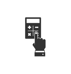 hand considers on the calculator vector image