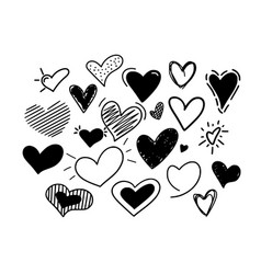 hand-drawn hearts icons big doodle set vector image