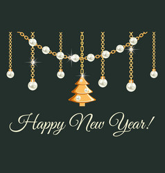 happy new year greeting card design with pears vector image