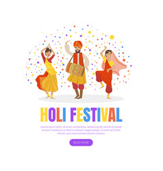 holi festival landing page template indian spring vector image