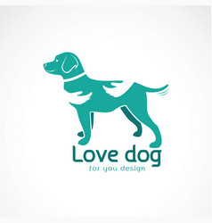 human hand that hugs the doglabrador on white vector image