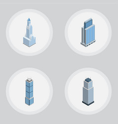 isometric building set of cityscape apartment vector image