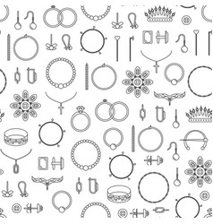 jewelry black thin line seamless pattern vector image