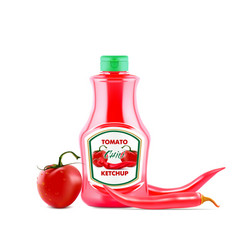 Ketchup bottle with fresh tomatoes and red hot vector