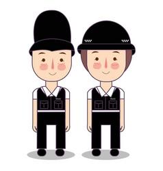 Kids wearing police cop british uk vector