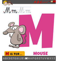 Letter m from alphabet with cartoon mouse animal vector
