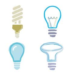light bulb symbols icons cartoon paint set vector image