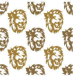 lion head seamless pattern royal cat profile vector image