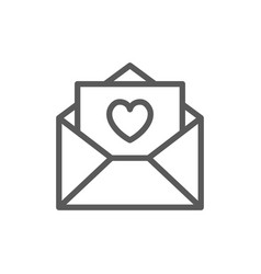 love letter with heart valentine day line icon vector image