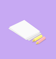 low poly isometric pencils and paper vector image