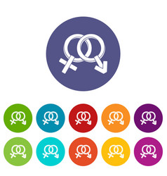 male and female signs icons set flat vector image