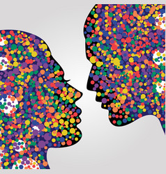 man and woman heads with colorful circles vector image