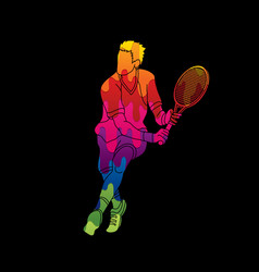 Man tennis player running sport man action vector