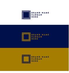 Minimal square shape logo design concept vector