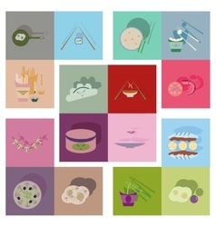 Modern flat icons with shadow fast food vector