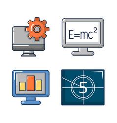 monitor lcd icon set cartoon style vector image