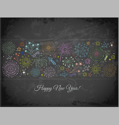 New year greeting card with fireworks on vector