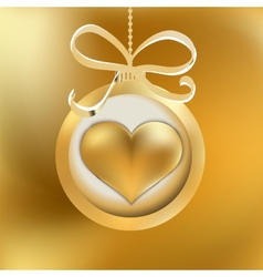 One golden Christmas heart EPS8 vector