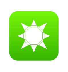 origami sun icon green vector image