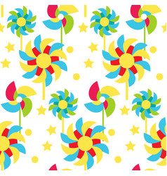 Paper windmill children seamless pattern garden vector