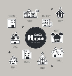 place hand drawn doodle icons set vector image