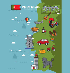 portugal travel tourism poster template of vector image
