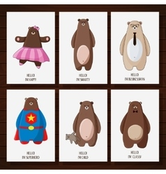 Postcard with funny cartoon hipster bears vector image