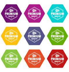 premium meat quality icons set 9 vector image