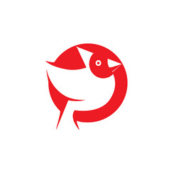 red bird in a circle shape logo design on a white vector image