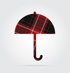 Red black tartan isolated icon - umbrella vector