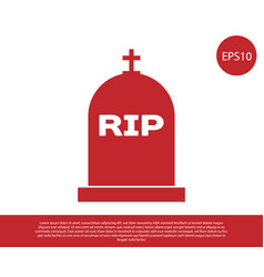 Red tombstone with rip written on it icon vector
