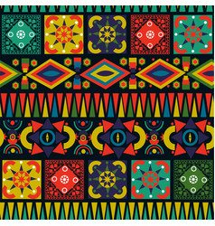 retro folk abstract patchwork seamless pattern art vector image