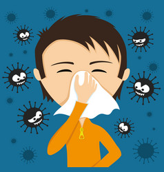 Runny nose and viruses vector