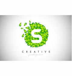 S green leaf logo design eco logo with multiple vector