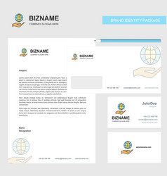 Safe world business letterhead envelope and vector