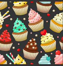 seamless pattern of yummy colored cupcakes vector image